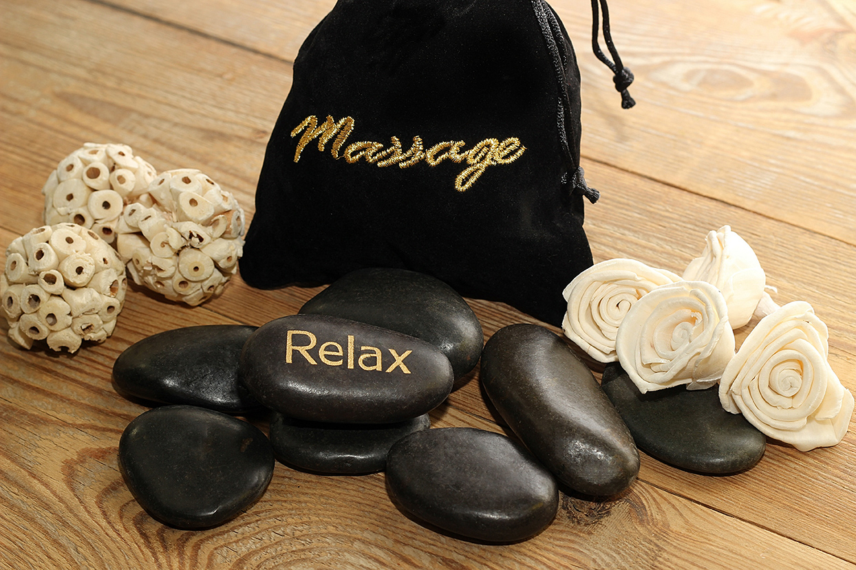 massage stones and bag